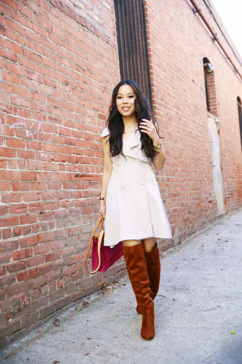An Dyer wearing Chicwish Sleeveless Trench