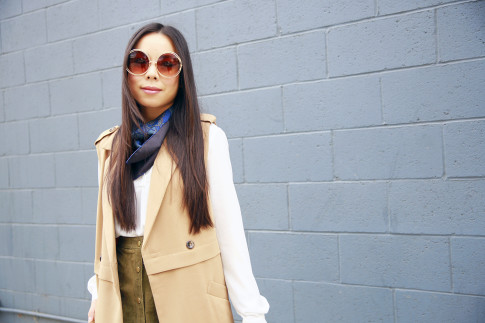 An Dyer wearing Chloe Inspired Wire Rim Round Sunglasses with Hermes Scarf