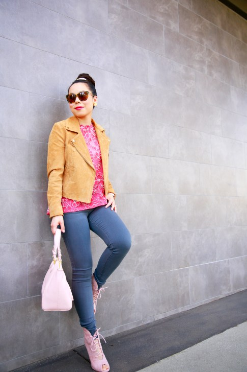 An Dyer wearing Forever 21 Camel Suede Moto Jacket with Tadashi BCA Pink Lace Top and Joe's Jeans