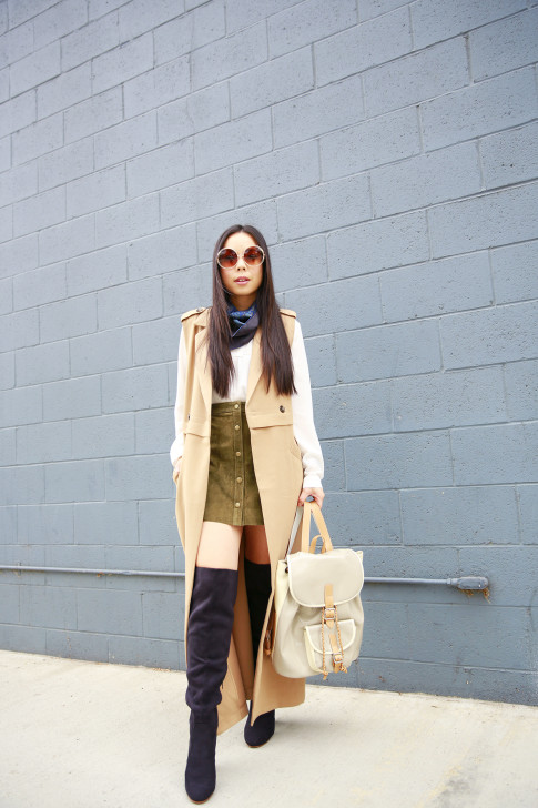 An Dyer wearing Forever 21 Long Sleeveless Trench Duster, Olive Suede Button Front Skirt, Chloe inspired Sunglasses, OTK Boots, Harper Ave Mini Le Corb