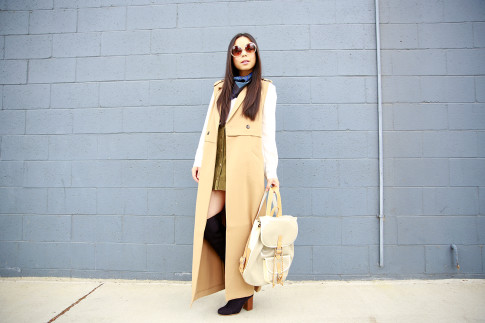 An Dyer wearing Forever 21 Sleeveless Trench Duster, Harper Ave Mini Le Corb