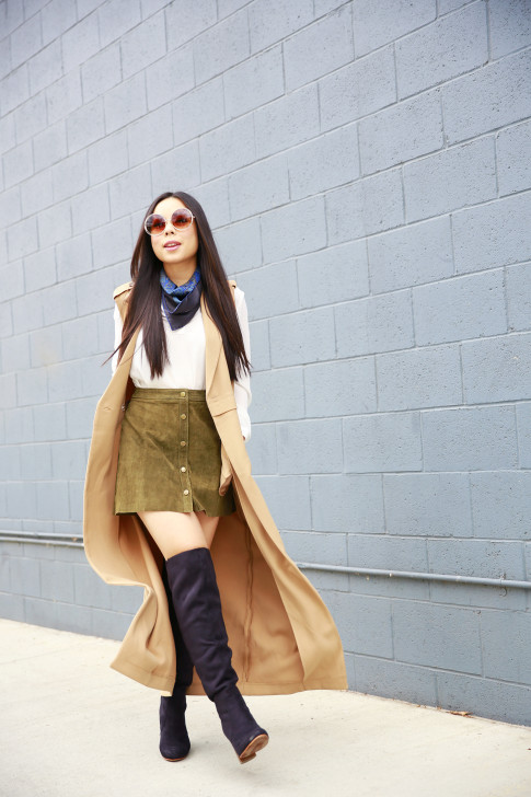An Dyer wearing Hermes Pocket Square Around Neck, Olive Suede Button Front Skirt Sleeveless Trench Duster, JustFab suede Over The Knee Boots