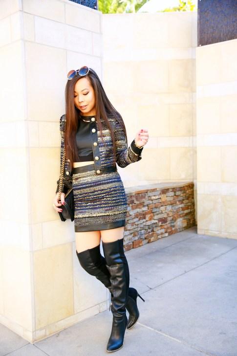 An Dyer wearin Marciano Mizell Tweed Skirt Suit Set