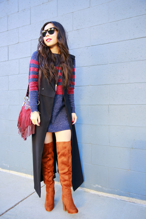 An Dyer wearing Black Duster Vest Coat JustFab Sweater Dress Over The Knee Boots