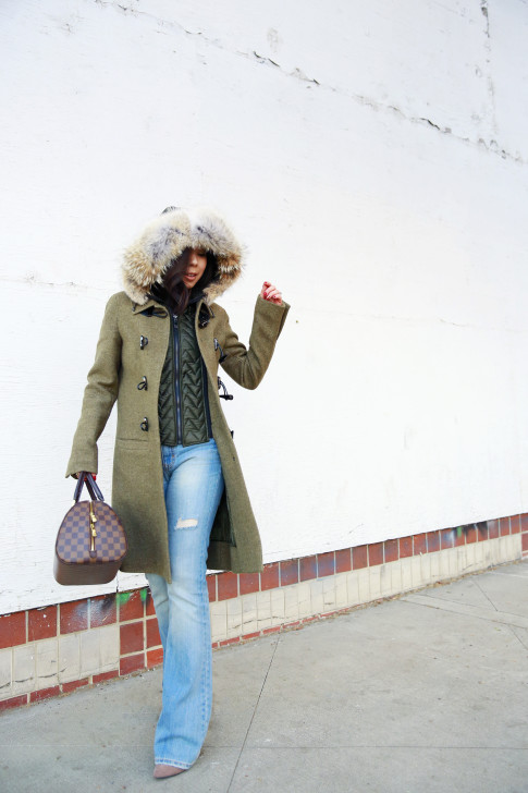 An Dyer wearing Dawn Levy Waverly Green Coat, Louis Vuitton Ribera Mm Damier, Aeropostale Light Flare Jeans