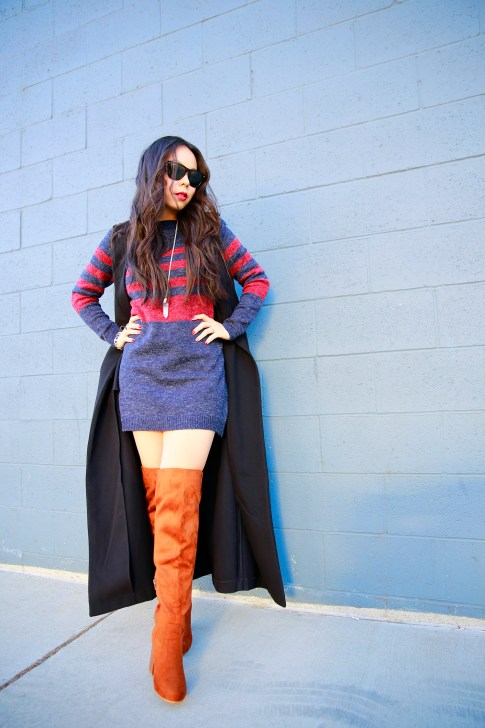 An Dyer wearing Forever Black Duster Vest Coat JustFab Sweater Dress Over The Knee Boots