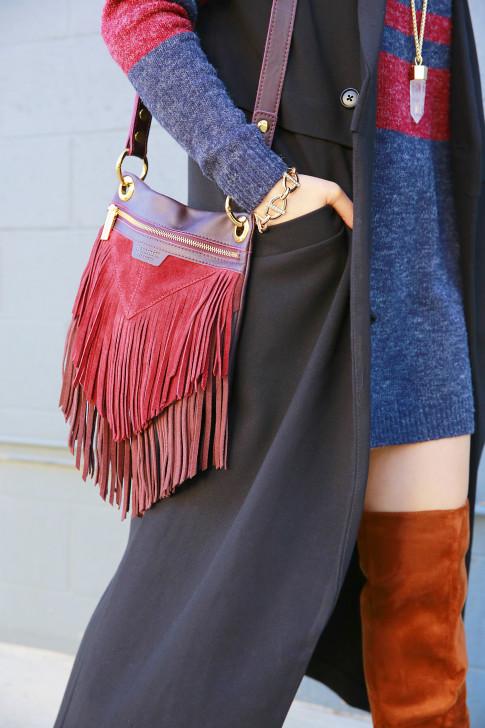 An Dyer wearing Hammitt Fringe Bag
