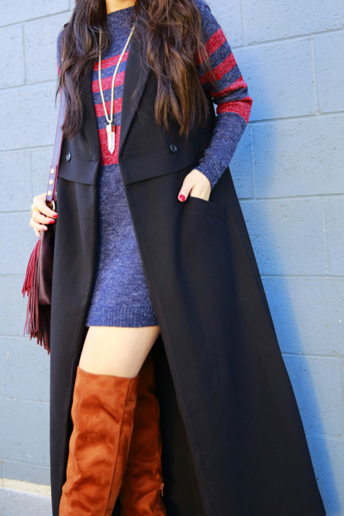 An Dyer wearing JustFab Striped Rugby Sweater Dress RayBan Wayfarer Band of Outsider Oversized