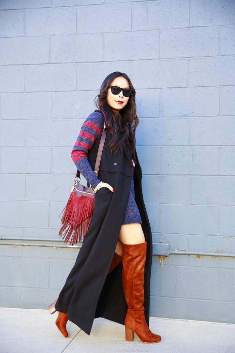 An Dyer wearing JustFab Sweater Dress Cognac OTK Boots