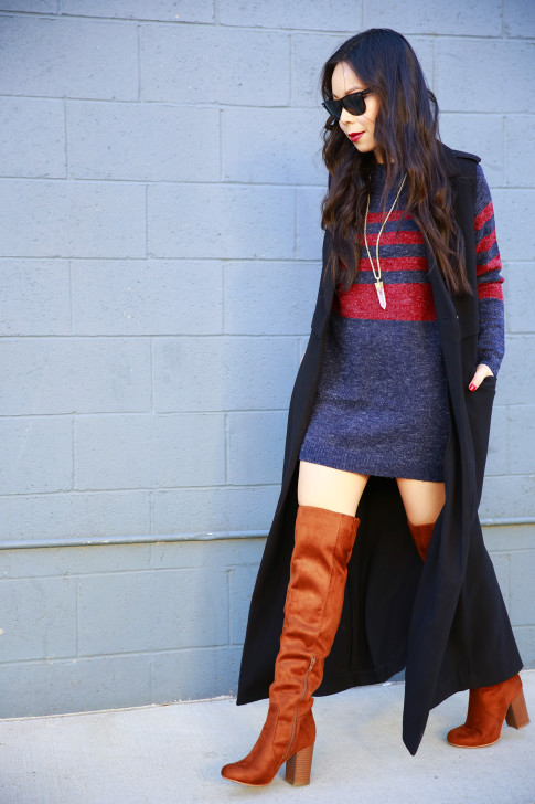 An Dyer wearing JustFab Sweater Dress Cognac Over The Knee Boots