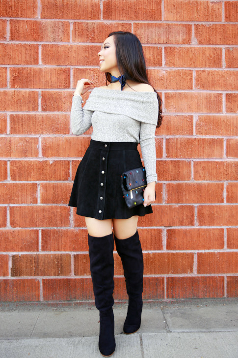 An Dyer wearing Off the Shoulder Sweater Suede Button Front Skirt OTK Boots