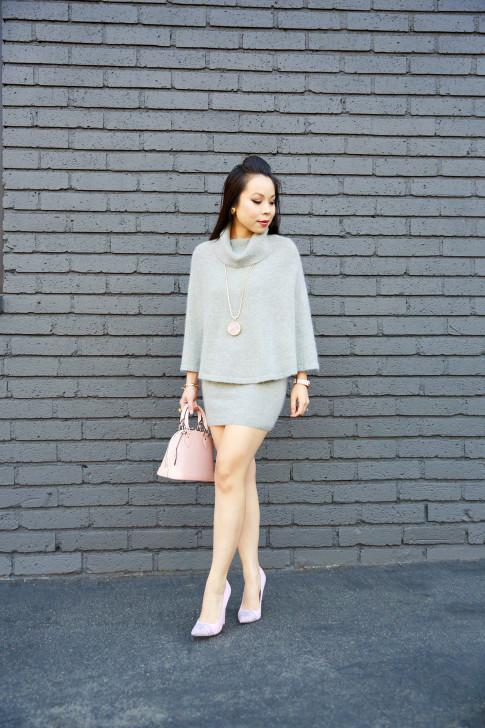 An Dyer wearing Chic Wish Mohair Poncho Skirt Set