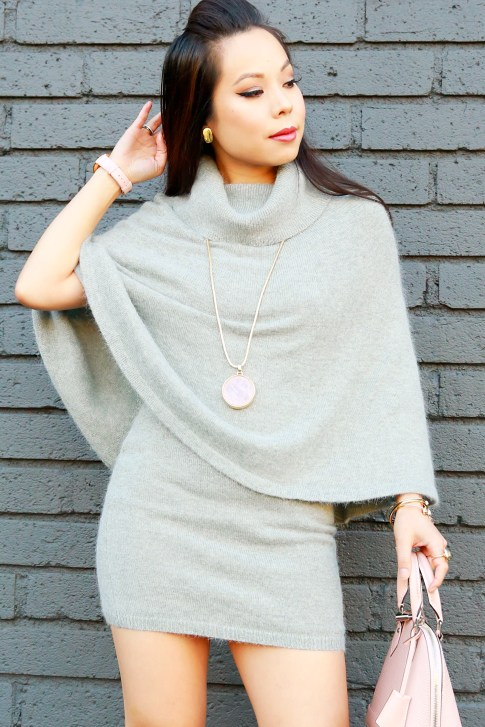 An Dyer wearing ChicWish Mohair Poncho Skirt Set with Capwell Break The Record Necklace