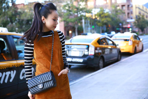 An Dyer wearing Forever 21 Suede Dress, Striped Sweater, Chanel Like A Chevron Flap Bag & Clip On Earrings