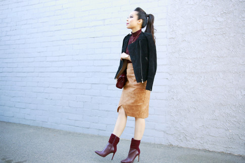 An Dyer wearing Forever 21 Suede Jacket, House of CB Skirt, Guess Boots