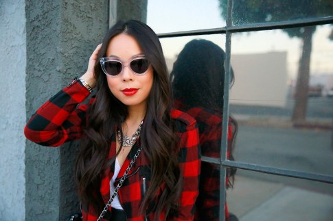 An Dyer wearing Hudson Jacket Clear Cateye Sunglasses