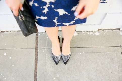 An Dyer wearing JustFab Tweed Pumps