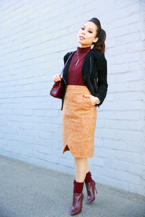 An Dyer wearing Pompadour Ponytail, RD Style Top, Forever 21 Suede Jacket, House of CB Skirt, Guess Vvidlet Boots