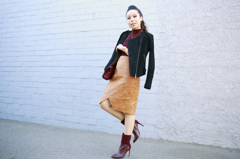 An Dyer wearing RD Style Top, Forever 21 Suede Jacket, House of CB Skirt, Guess Boots