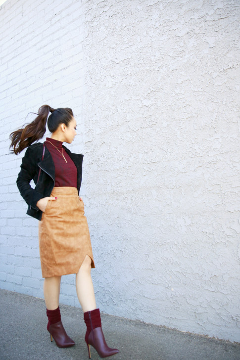 An Dyer wearing RD Style Top, Forever 21 Suede Jacket, House of CB Skirt, Guess Vvidlet Boots