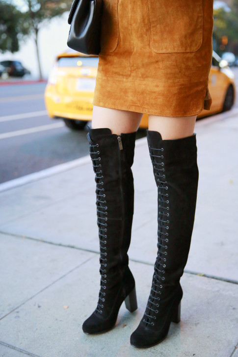 An Dyer wearing Ted & Muffy Lace Up Over The Knee Boots