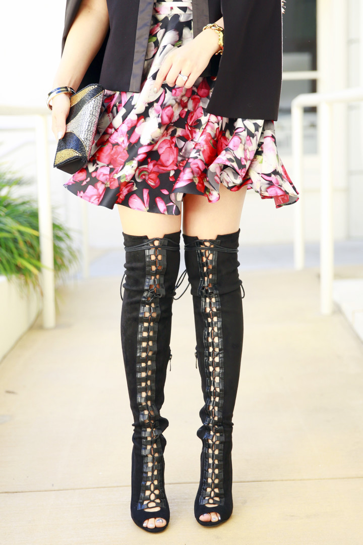 An Dyer wearing 4th & Reckless Lace Up Over The Knee Boots