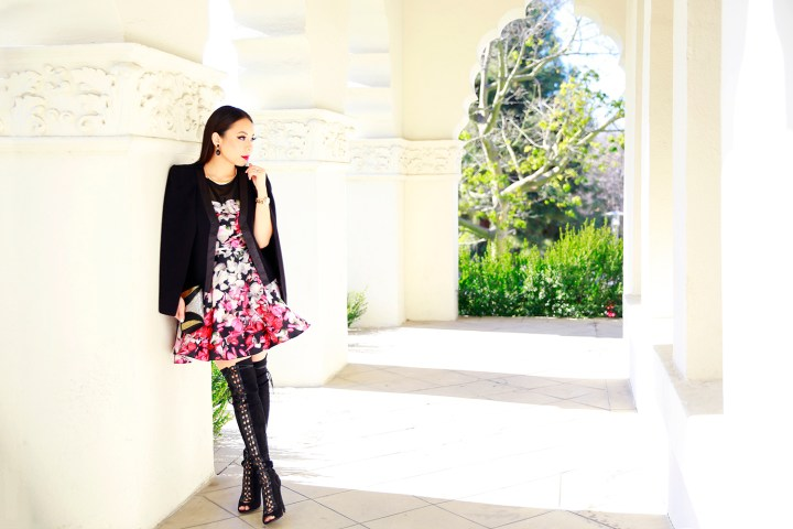 An Dyer wearing Amanda Uprichard Dress with Ro De Noir Cape Jacket