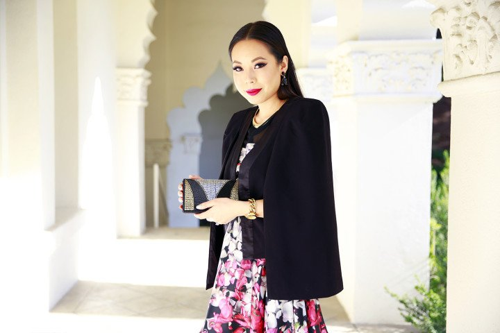 An Dyer wearing Charming Charlie Beaded Clutch