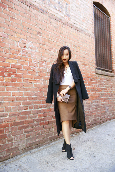 An Dyer wearing Ro&DeNoir SIENNA COAT & Level 99 Tan Suede Skirt