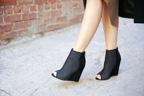 An Dyer wearing ShoeDazzle Seli Suede Perforated Booties Peeptoe
