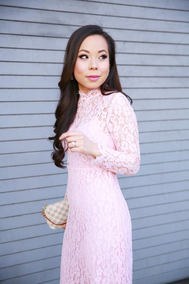 An Dyer wearing Chicwish Pink Long Sleeve Lace Midi Dress