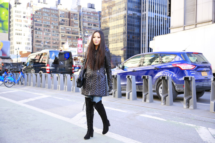 An Dyer wearing Dawn Levy Paig Coat with Ted Muffy Lace Up Over The Knee Boots