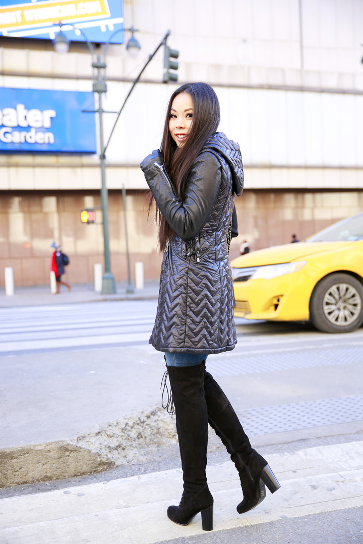 An Dyer wearing Dawn Levy Paige Coat with Ted Muffy Lace Up OTK Boots