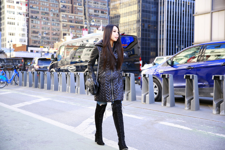 An Dyer wearing Dawn Levy with Ted Muffy Lace Up Over The Knee Boots