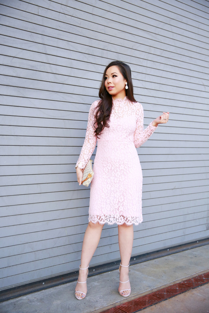 An Dyer wearing Pink Lace Midi Dress Long Sleeves