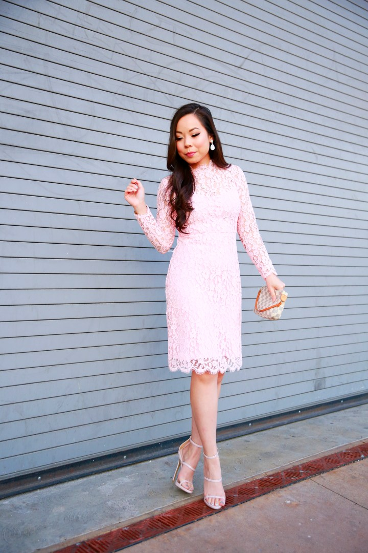 An Dyer wearing Pink Long Sleeve Lace Midi Dress