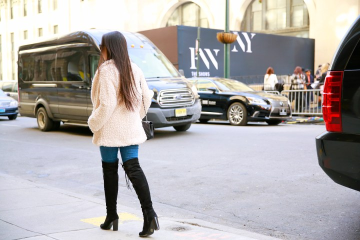 An Dyer wearing Willow and Clay Fuzzy Jacket at NYFW