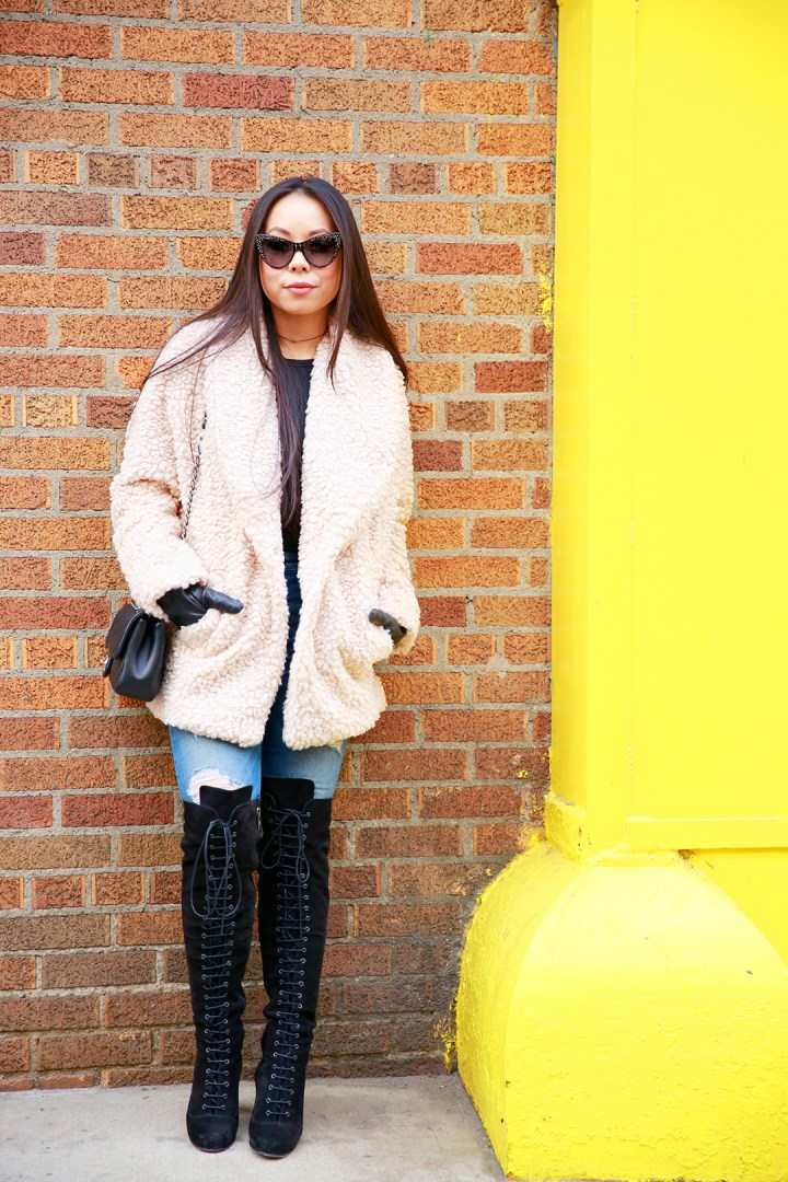 An Dyer wearing Willow and Clay Fuzzy Jacket with Ted & Muffy Lace Up Over The knee Boots
