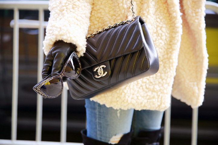 Marilyn Eyewear Sunglasses with Chanel Chevron Flap Bag NYFW Street Style Accessories FW 2016
