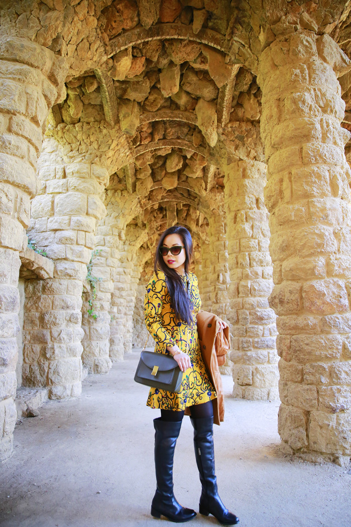 An Dyer wearing ChicWish and Ted & Muffy at Park Guell Barcelona Spain