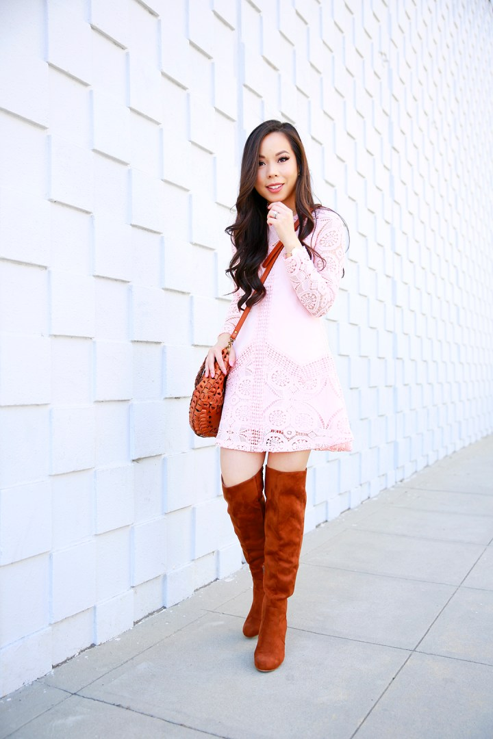 An Dyer wearing Chicwish Pink Blush Crochet Dress with Cognac OTK Boots