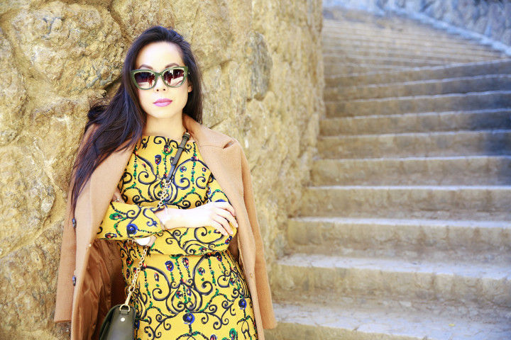 An Dyer wearing Chicwish with Sunday Somewhere Sunglasses Green Cateye in Barcelona Spain