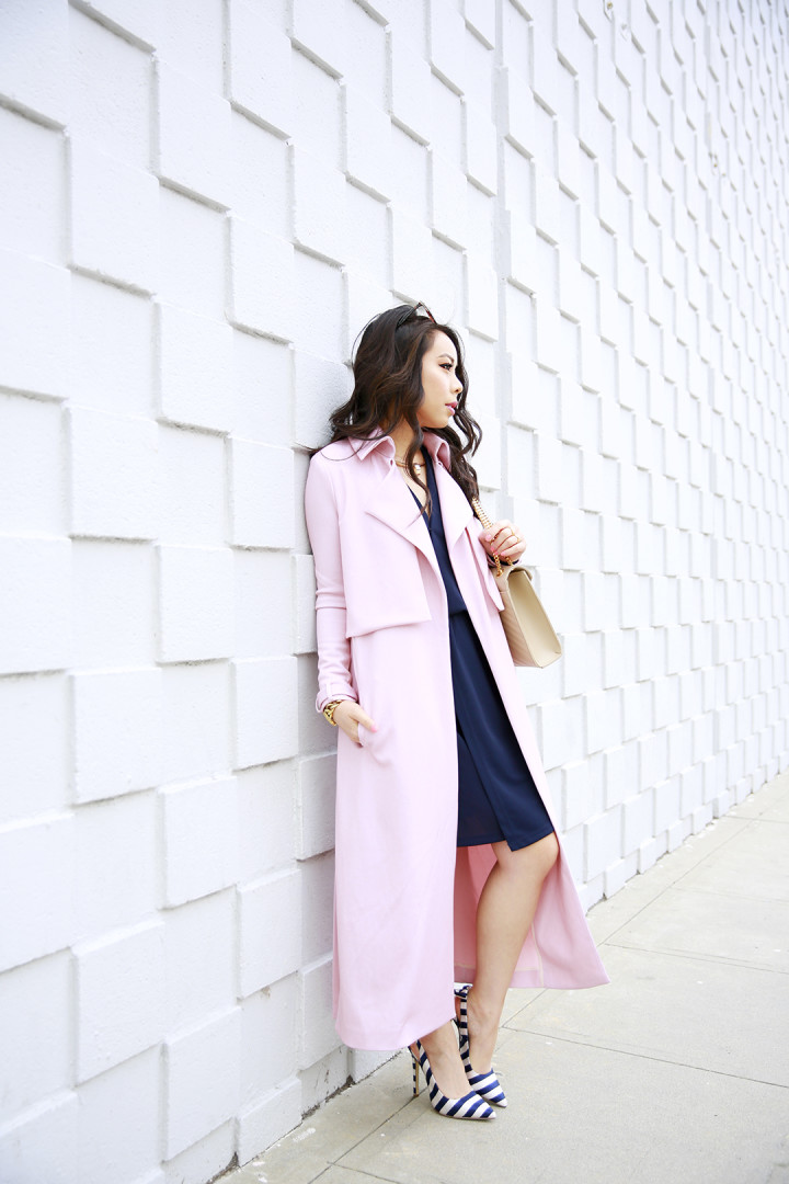 An Dyer wearing LXE Riverside Trench Blush Pink Duster Coat c