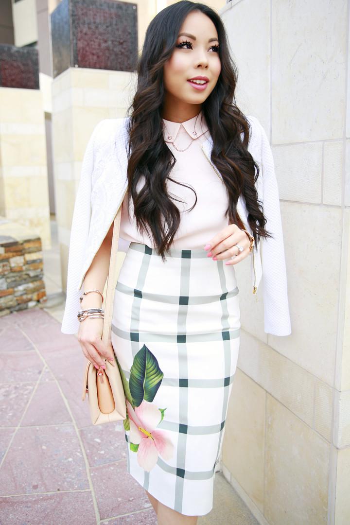 An Dyer wearing Ted Baker MIMIE Secret Trellis pencil skirt