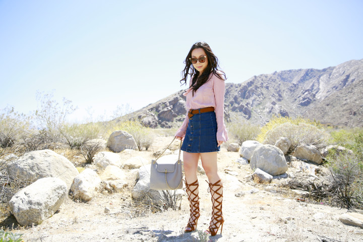 An Dyer Coachella 2016 Street Style Blush Pink Denim Gladiator