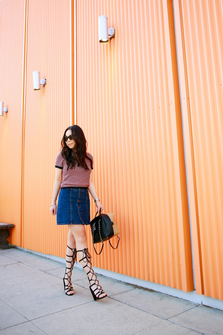 An Dyer wearing Forever 21 Button Front SKirt and Call It Spring Gladiator Sandals