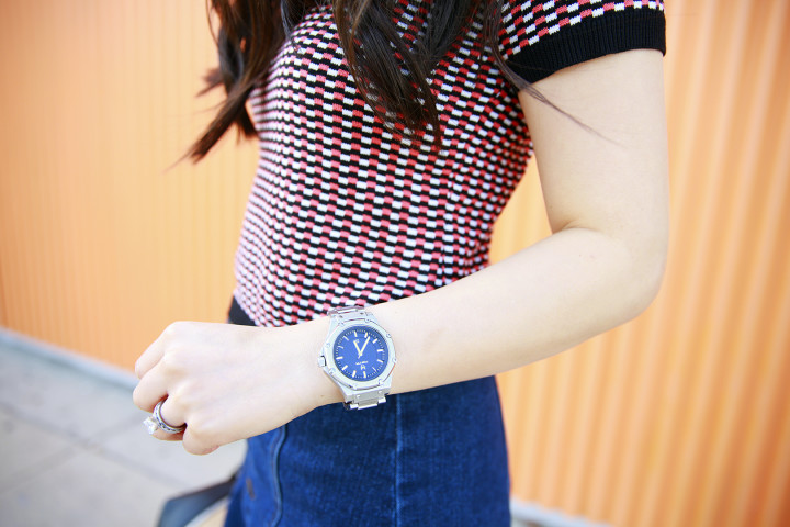 An Dyer wearing MSTR Watch