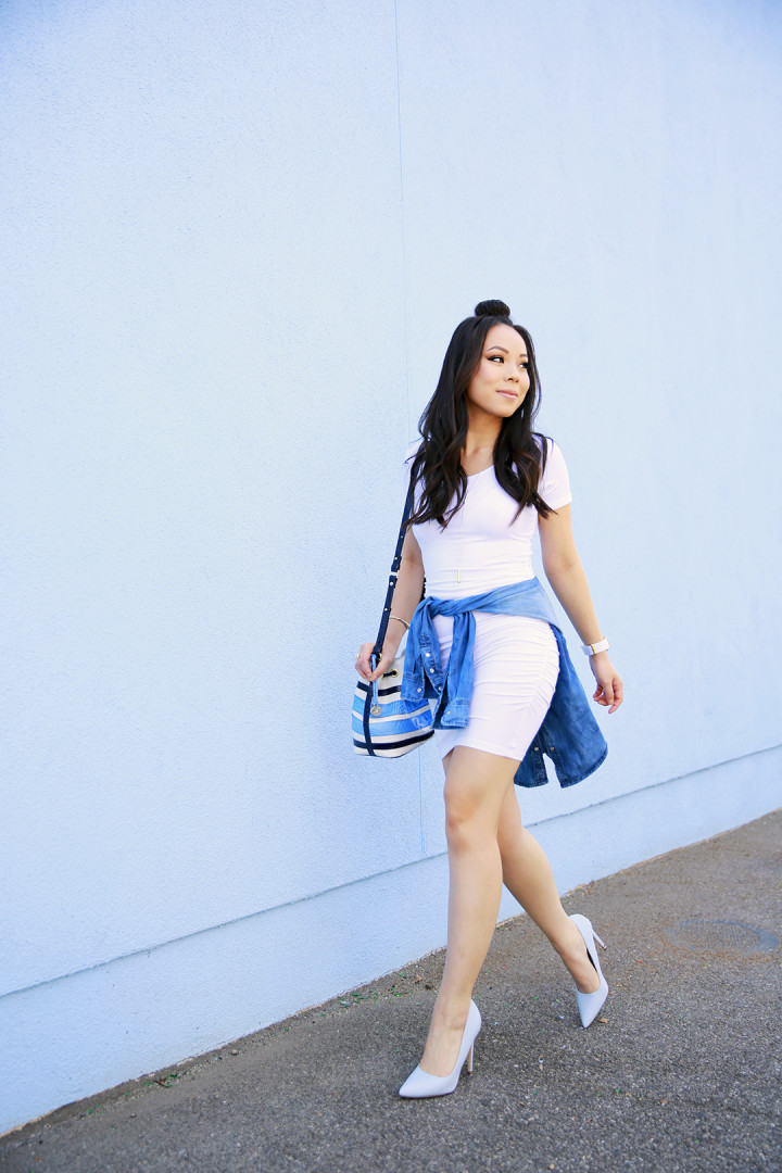 An Dyer wearing Nicole Andrews White Tee Dress