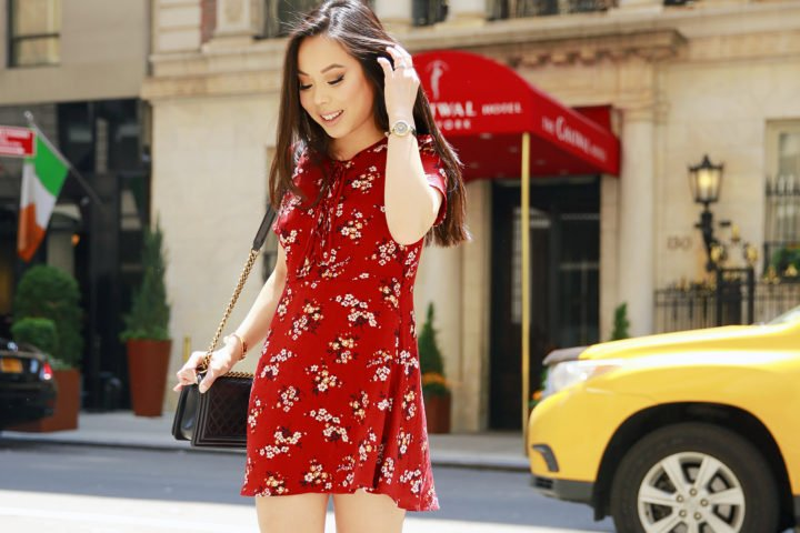 An Dyer NYC Street Style Chanel Boy Bag Spring Summer 2016 Red Floral Dress