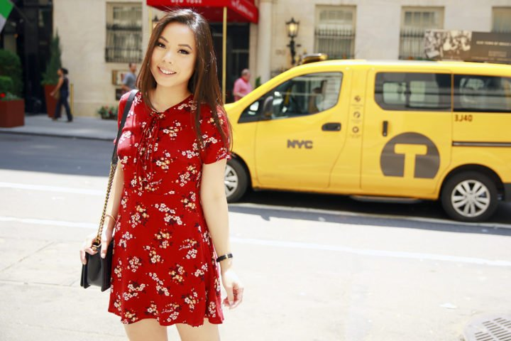 An Dyer NYC Street Style Spring Summer 2016 Red Floral Lace Up Dress